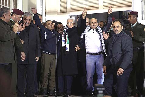 PA Chairman Abbas proudly hanging out with released terrorists.