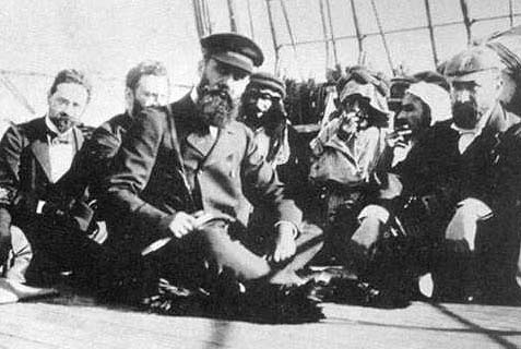 Herzl and Zionist leaders en route to Eretz Israel.