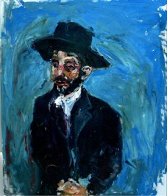 Portrait of Lubavitch Hasid (50x54) oil on canvas by Simon Gaon. Courtesy of artist.
