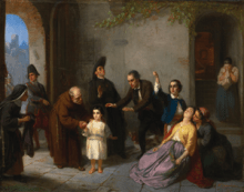 Kidnapping of Edgardo Mortara, (1862) oil on canvas by Maritz Daniel Oppenheim Courtesy Sotheby's