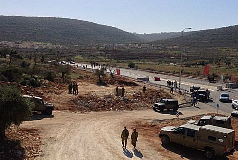 Scene of the terrorist attack near Ateret in northner Samaria on Wednesday.
