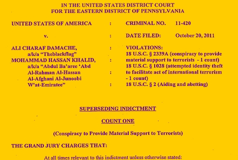 Indictment charging Teen Terrorist Mohammad Hassan Khalid