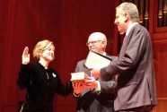 Katz being sworn in by Mayor Bill DeBlassio (R) and Congressman Joseph Crowley