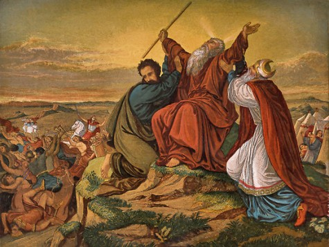 Hur and Aharon holding up Moshe's hands as Joshua battled Amalek.