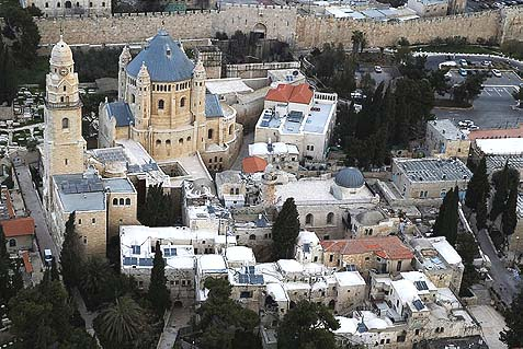 Bird eye view of the Abbey of the on Mt. Zion just outside the walls of the Old City near the Zion Gate.