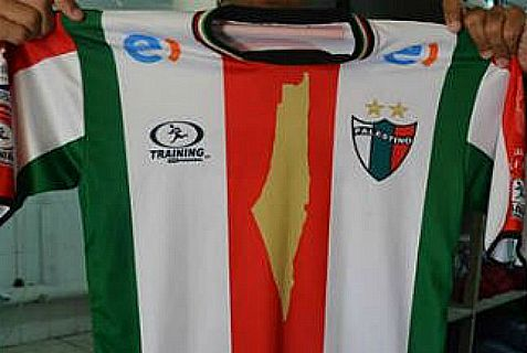Chile soccer team's new jersey displays all of Israel as Palestine.
