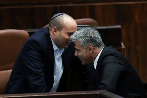 "What, no more buddies? Naftali Bennett and Yair Lapid sharing a joke in the days before the former called the latter a dictator. Nowadays, Bennett wants to annex Jewish settlement blocs in Judea and Samaria, and Lapid wants to bring down the government if it votes to do so. Ah, ""unity"" . . ."