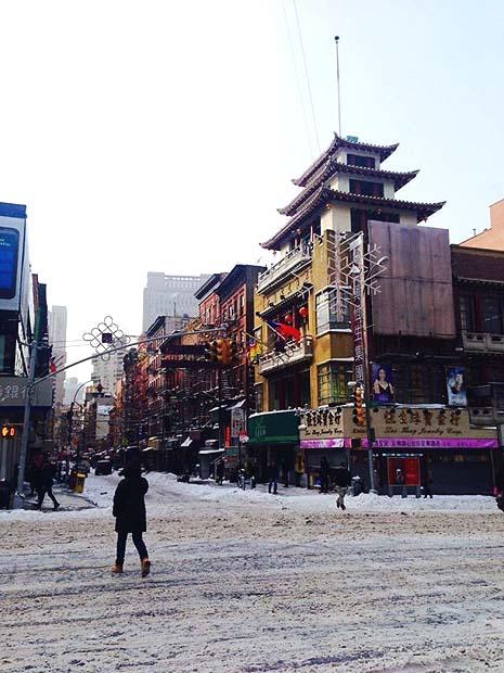 chinatown under snow