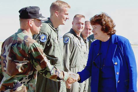 Senator Feinstein (D-CA) visiting with Airmen in Travis Air Force Base, California.