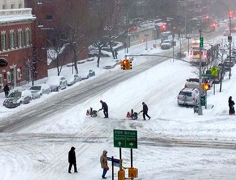 grand street under snow