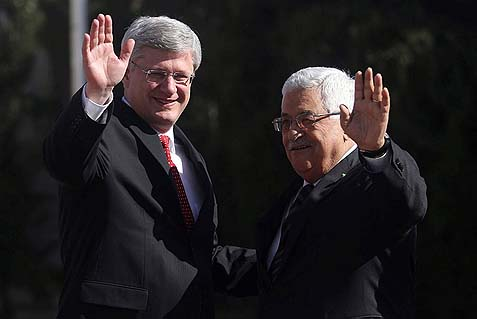 Canadian Prime Minister Stephen Harper with Palestinian Authority Chairman Mahmoud Abbas in Ramallah.
