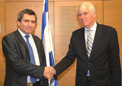 EU Ambassador Lars Anderson Faborg (R) with Deputy Foreign Minister Ze'ev Elkin. Photo by Israel's Foreign Ministry.