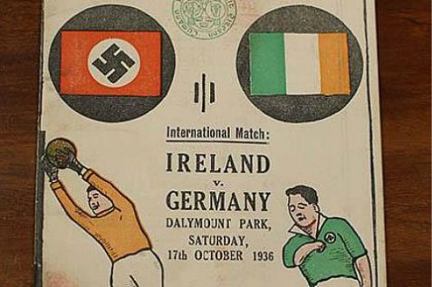 An Irish auction house is putting up for sale a 1938 program of a Nazi Germany-Ireland soccer match.