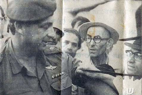 Davar reporter Noach Zevuluny wrapping a tefillin strap on Ariel Sharon's arm at the Kotel shortly after the 1967 Six Day War. This event, and a personal tragedy that befell the Sharon family months later, were a precursor to a lengthy relationship between the Lubavitcher Rebbe and Sharon. I believe this relationship was a long educational project of the Rebbe that ended with mixed results.