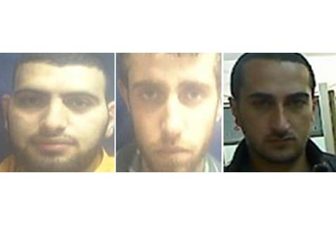 Terrorists Iad Abu Sara, Ala Anam and  Rubin Abu Nijma  (left to right). Sara and Nijma are from Jerusalem and Anam is from Jenin.