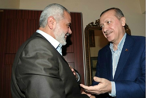 Then Turkish Prime Minister Erdogan with de facto Gaza Prime Minister and Hamas leader Ismail Haniyeh.