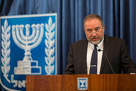 Minister of Foreign Affairs Avigdor Lieberman speaks at a meeting of the Conference of Presidents of Major American Jewish Organizations,Tuesday.