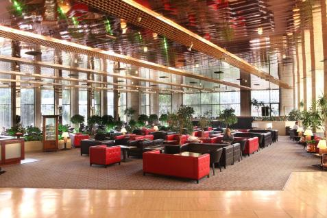 The lobby of the Jerusalem Ramada Renaissance hotel.