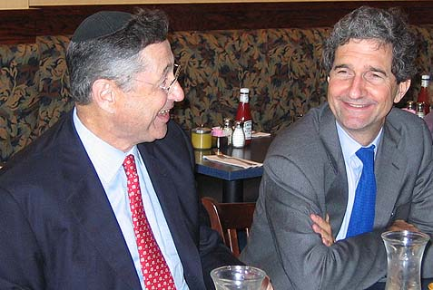 John Kerry's brother Cameron Kerry (R) sitting and schmoozing in a Lower East Side kosher restaurant (the now defunct Noah's Ark) with NY State Assembly Speaker Sheldon Silver, during Kerry's failed 2004 presidential bid. Kerry has been using his brother, a Jewish convert (Reform, nebech), as his messengers to the Hebrews. Kinda' sad.