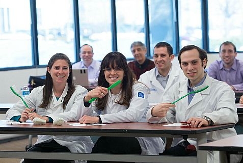 Brushing up for aliyah - a few of the dentists who took the exam in New Jersey on Monday.