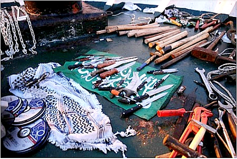 Weapons found on board the Mavi Marmara on May 31, 2010