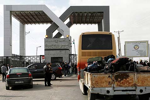 The Rafah border crossing between Egypt and the southern Gaza Strip.