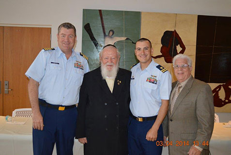 (L-R): Coast Guard Deputy Sector Captain James Pruitt; Rabbi Weberman; Coast Guard Lt Commander Michael Cortese; USCG Auxiliary Immediate Past Flotilla Commander Jack Benveniste