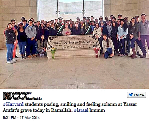 Harvard Students on Harvard Hillel supported and Boston CJP co-sponsored trip to Israel, visiting Arafat's grave. March 17, 2014.