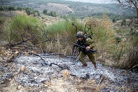 IDF soldier near the border with Lebanon.