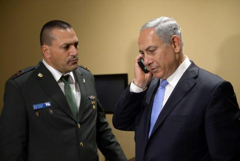 PM Netanyahu in the U.S., getting the news about the interception.