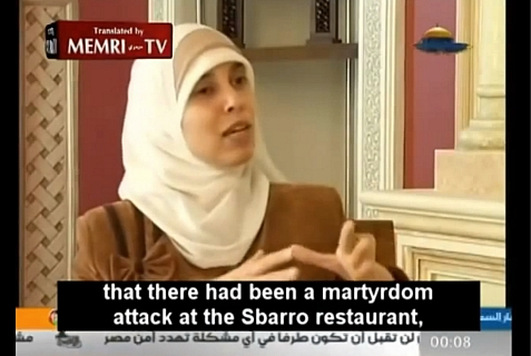 Ahlam Tamimi, accomplice in the Sbarro Pizzeria suicide bombing attack in Jerusalem which killed the author's daughter.