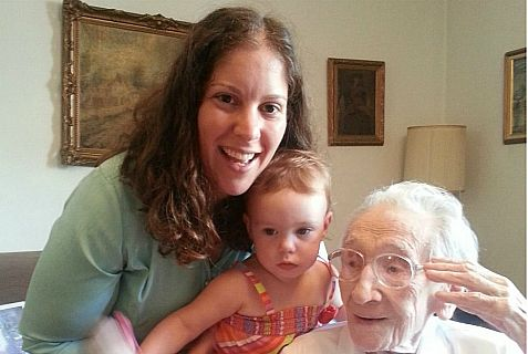 Gisela Dollinger with her great-great-great-grandnieces.