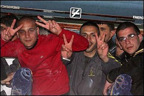 Palestinian Authority terrorists freed from prison: 78 down and 26 to go.