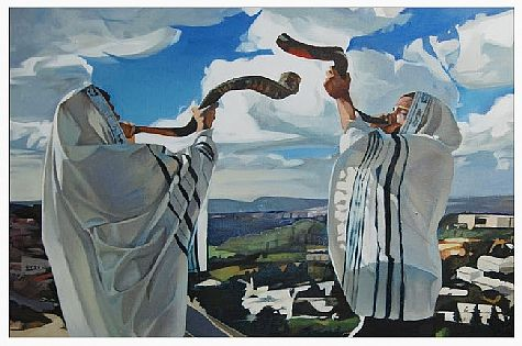 Poster depicting two Jews blowing the shofar of Israel -- from the 100 Shofars Rally set for April 29, 2014 in NYC.
