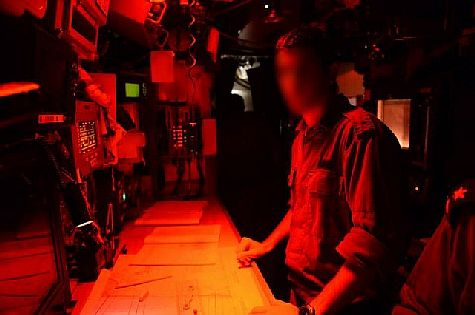 Inside an Israeli submarine.
