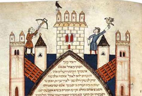 Crossbow and Black Bird (detail) Cervera Bible, (1300), Fol. 445.                                                           Courtesy Biblioteca Nacional de Portugal, Lisbon.