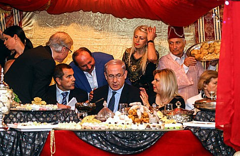 Prime Minister Benjamin Netanyau and his wife Sara attend a Mimouna, which is a Moroccan  celebration after Pesach.