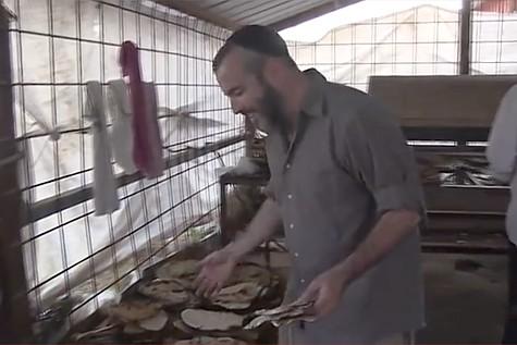Yishai Baking Matzah