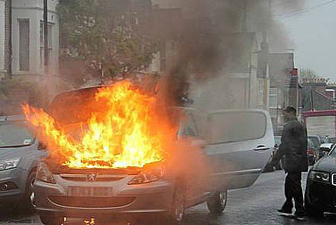 Two Jewish worshippers survived intense heat to save a baby from this burning car outside a synagogue in London on Passover.