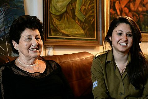 Holocaust survivor Eva Levi and her granddaughter-IDF soldier.