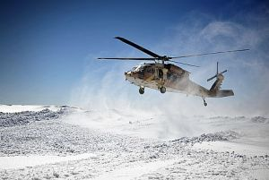 This helicopter took off after a visit from Chief of Staff Lt. Gen. Benny Gantz to the snowy region. Mt. Hermon borders Syria and plays a strategic role in guarding Israel's northern border.