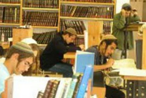Students learning Torah at Od Yosef Khai yeshiva in Yitzhar.