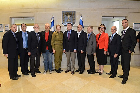 Nefesh B'Nefesh Co-Founder and Executive Director Rabbi Yehoshua Fass, Yosef Abramowitz, Professor Shimon Glick, Yaakov Kirschen, Lt. Nira Lee, Speaker of the Knesset, MK Yuli (Yoel) Edelstien, Joseph Gitler, Jeffrey Hausdorff, Rabbanit Malke Bina, Nefesh B'Nefesh Founder and Chairman, Tony Gelbart, and Nefesh B'Nefesh Vice Chairman, Erez Halfon. Photo by: Shahar Azran