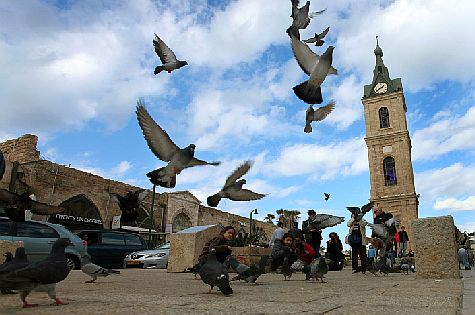 The clock square in the ancient port city of Jaffa (Yafo) next to Tel Aviv.