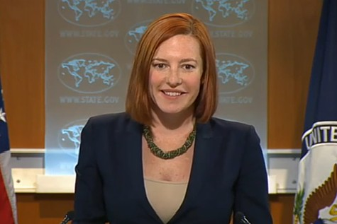 "Jen Psaki, smiling while parroting the Obama administration's ""ridiculous""reaction to the acquittal of Mubarak on charges of murder."