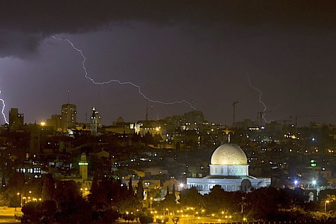 Lighting over the Temple Mount
