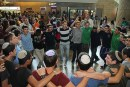 Boys from Sha'alavim Religious Boys' School celebrate their arrival in Israel through song and dance. Sha'alavim is one of the schools participating in the Naale Elite Academy program.