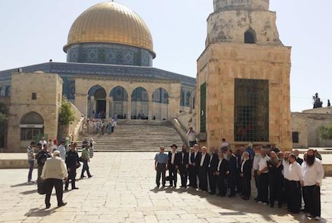 Religious Zionist rabbis  on the Temple Mount.
