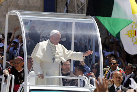 Pope Francis greets crowds in Bethlehem in 2014.