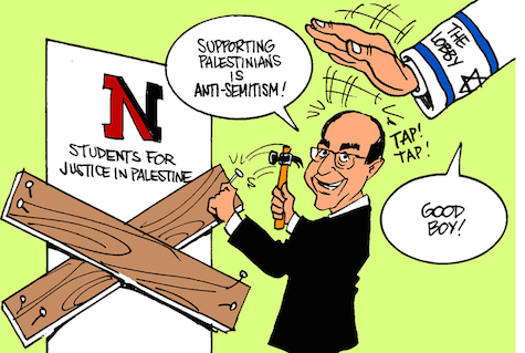 Cartoon posted on the Facebook page of Northeastern University's Students for Justice in Palestine chapter